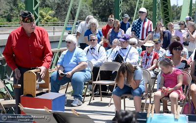 "Bob Morehouse rings the bell followed by ""No answer"" during the Memorial Day Ceremony on the Green Bridge in Oroville, Calif. Mon. May 30, 2016. (Bill Husa -- Enterprise-Record)"