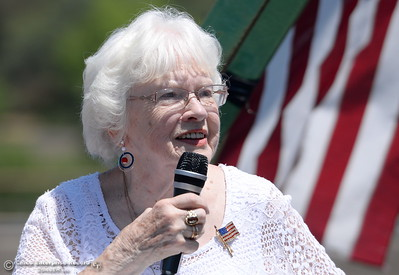 Sherry Morehouse speaks during the Memorial Day Ceremony on the Green Bridge in Oroville, Calif. Mon. May 30, 2016. (Bill Husa -- Enterprise-Record)
