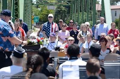 Pastor David Rieck leads the singing during the Memorial Day Ceremony on the Green Bridge in Oroville, Calif. Mon. May 30, 2016. (Bill Husa -- Enterprise-Record)