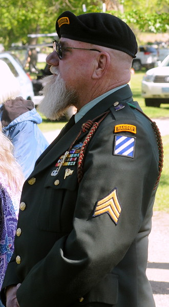 "John Watson of Loveland, who served in combat during the Vietnam War, said he always wears his Army uniform to Memorial Day and Veterans Day events. ""I can't let people forget,"" he said. (Photo by Craig Young / Loveland Reporter-Herald)"