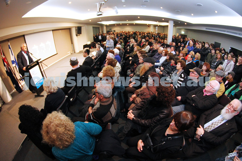 1-7-14. Memorial service at Beth Weizmann for the murdered Israeli teenagers Naftali Frenkel, Gilad Shaar and Eyal Yifrach. Zionist Council of Victoria president Sam Tatarka addresses the capacity crowd. Photo: Peter Haskin