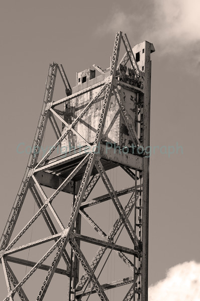 The 450 ton counterweight still sits atop the Memorial Bridge's Portsmouth tower. February 26, 2012.