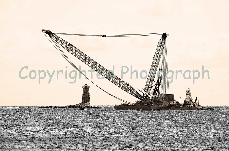 The 750 ton crane barge, Excalibur, approaches Whaleback Lighthouse as she begins her entry into Portsmouth Harbor.This crane will be used to remove the 450 ton counterweights still perched atop each of the Memorial Bridge's two towers. -March 5, 2012