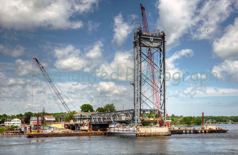 Work progresses nicely on the North Span's approach ramp, the Span and the Tower. - June 2013