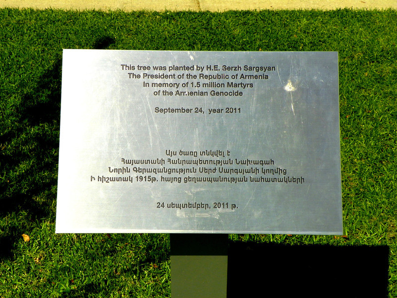 Armenian Martyrs Memorial, Montebello - 5<br /> Plaque commemorating the planting of a tree by the President of Armenian in 2011