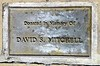 This memorial plaque for David S. Mitchell is at Central Park in Whittier. The donation refers to the adjacent bench (next photo).
