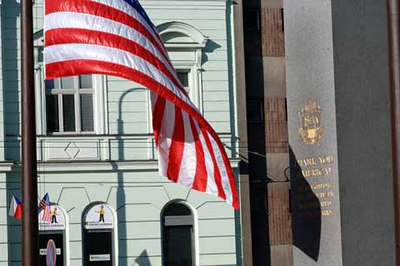 The American flag flies over a memorial in Pilsen, Czech Republic that thanks America for liberating the city in the closing days of World War II.