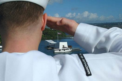 USNS Mercy Crew/Sailor looking over the USS Arizona Memorial, Hawaii.