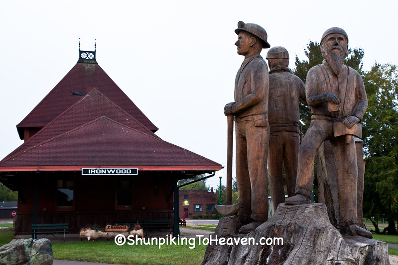 Miners Sculpture at Chicago and Northwestern Railroad Depot, Ironwood, Michigan
