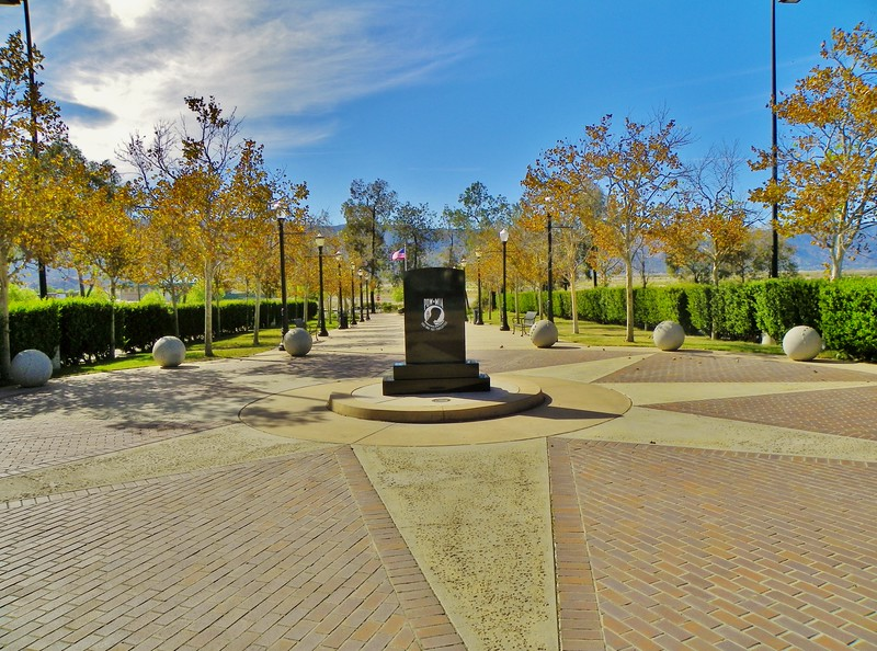 This memorial to all U.S. veterans is at Diamond Stadium in Lake Elsinore, California. The pathway extends 175 feet.