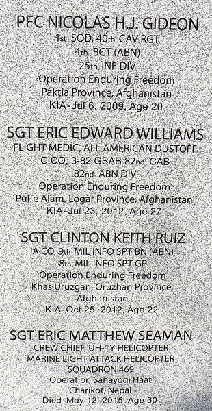 PFC Gideon, Sgt. Williams, Sgt. Ruiz, and Sgt. Seaman made the ultimate sacrifice.
