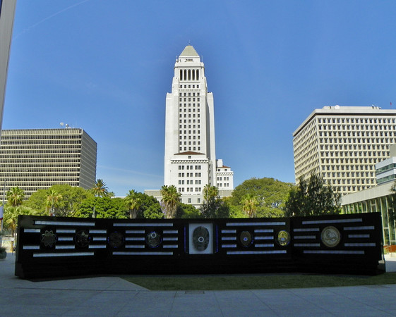 Los Angeles Police Department Memorial with City Hall in background