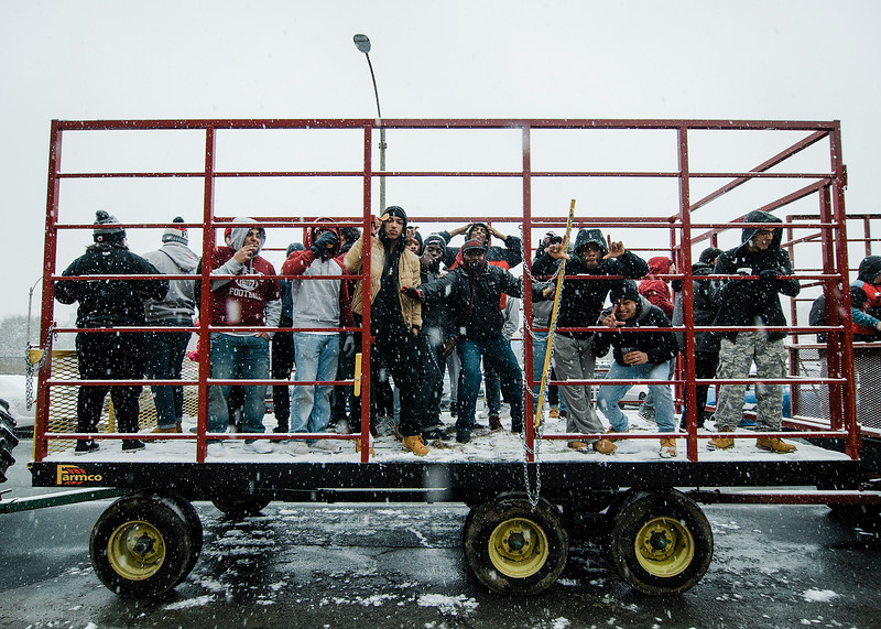 Fitchburg High football players and cheerleaders go on a hay ride provided by Hollis Hills during the Memories of Main Street event in Fitchburg on Saturday, December 9, 2017. SENTINEL & ENTERPRISE / Ashley Green