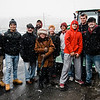 Fitchburg High football players pose with Mayor Stephen DiNatale and wife Joanne during the Memories of Main Street event in Fitchburg on Saturday, December 9, 2017. SENTINEL & ENTERPRISE / Ashley Green