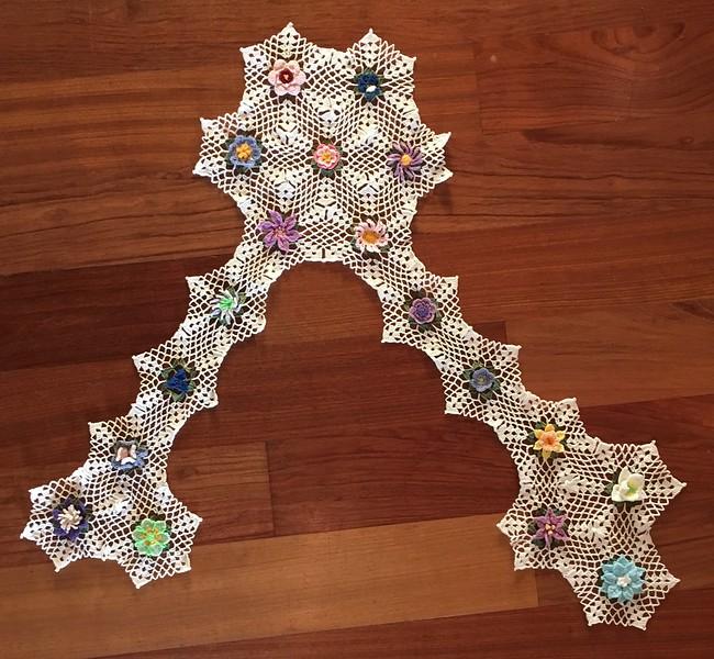 Snowflake Flower Vest in Progress