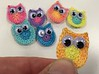 crocheted owls with my own hand-dyed thread