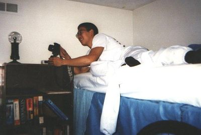 Mike Woo doing a photography project in our room