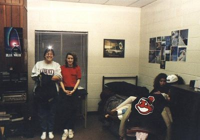 Ellen & Jennifer Krouse in my room during open dorms in 1995