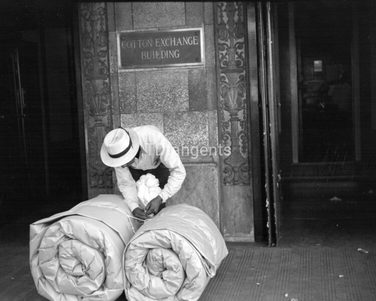 Cotton samples in front of cotton exchange building, Front Street, Memphis, Tennessee, 1939