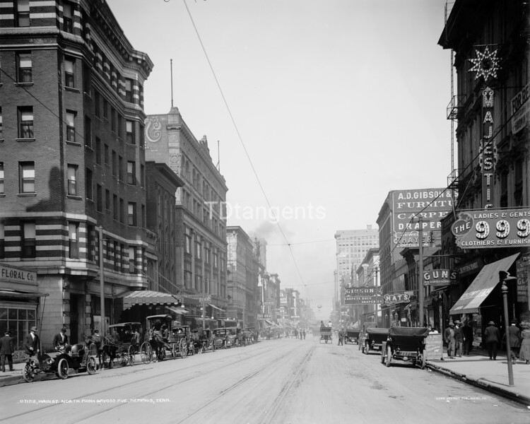 Main St. north from Gayoso Ave., Memphis, Tenn., between 1900 and 1910