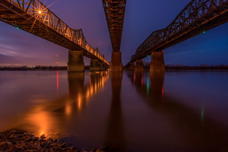 Three Great Bridges At Night