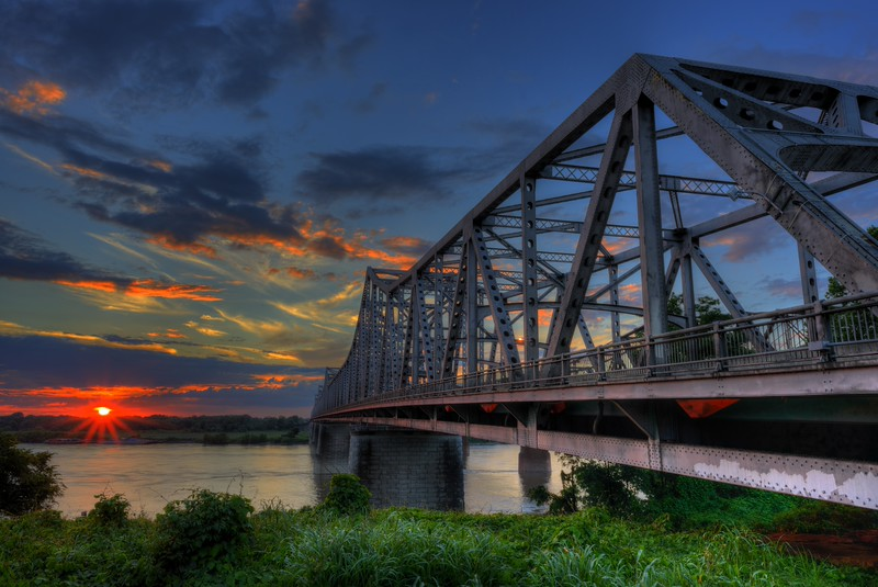Memphis-Arkansas Bridge At Sunset
