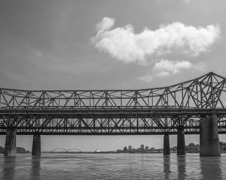 Memphis Skyline With Bridges