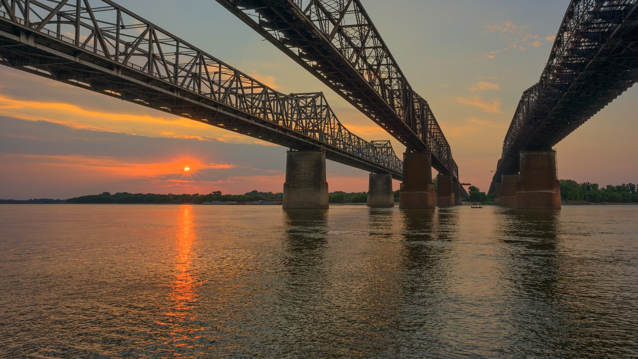 Fishermen And The Great Bridges At Sunset