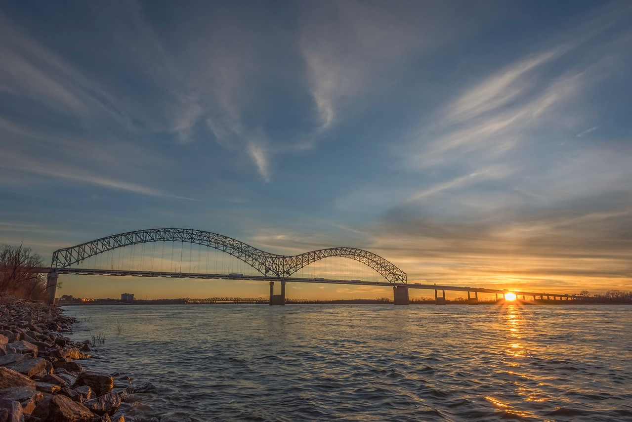 Sun Setting Behind Memphis Bridge