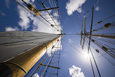 Taken during a memorable day's sail around the Bay of Islands aboard the R Tucker Thompson - a 85' gaff-rigged schooner.  Cracking 'advert' for lack of flare on a 12-24mm (full frame) extreme wideangle zoom.