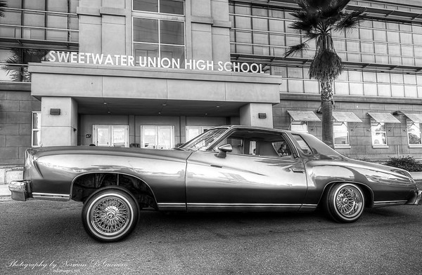 Low rider photoshoot in front of Sweetwater High School, National City.  Aug 19, 2019