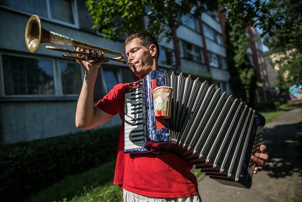 Gade-musikant i Riga, Letland