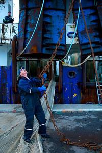 Det er tungt udstyr man bruger til at fange skidtfisk med, Thyborøn, Danmark