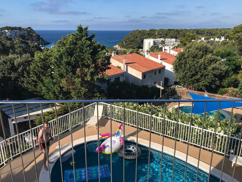 View over Cala Galdana from villa balcony