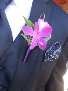 Orchid /rose  with mixed greens $25