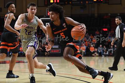 Oregon state mens basketball vs  Carroll College 102319 Leon N564