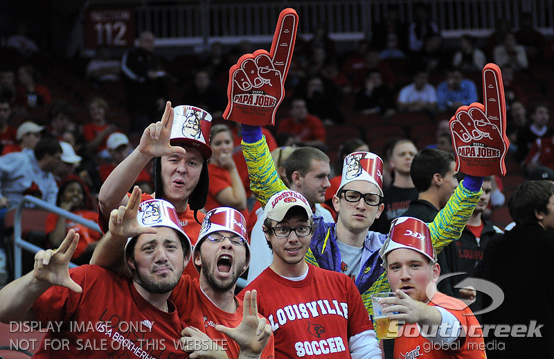 Louisville fans during the game.  At the KFC Yum Center in Louisville, Kentucky.