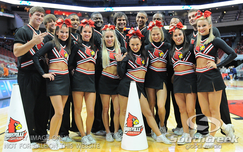 Louisville cheerleaders before the game.  At the KFC Yum Center in Louisville, Kentucky.