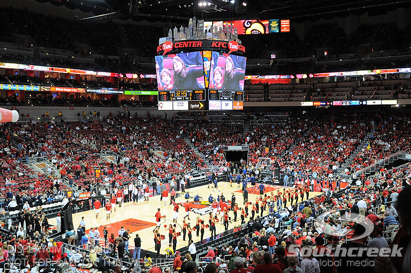 KFC Yum Center before the game.  at the KFC Yum Center in Louisville, Kentucky.