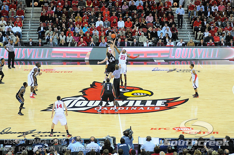 during the game.  Louisville leads Butler 41-23 at the half  at the KFC Yum Center in Louisville, Kentucky.