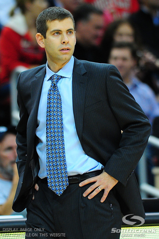 Butler head coach Brad Stevens during the game.  Louisville leads Butler 41-23 at the half  at the KFC Yum Center in Louisville, Kentucky.