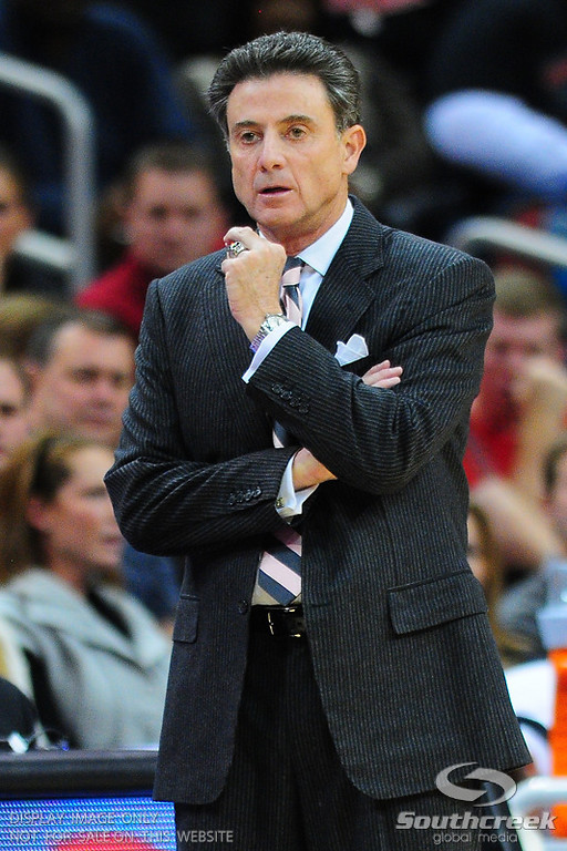 Louisville head coach Rick Pitino  during the game.  Louisville leads Butler 41-23 at the half  at the KFC Yum Center in Louisville, Kentucky.