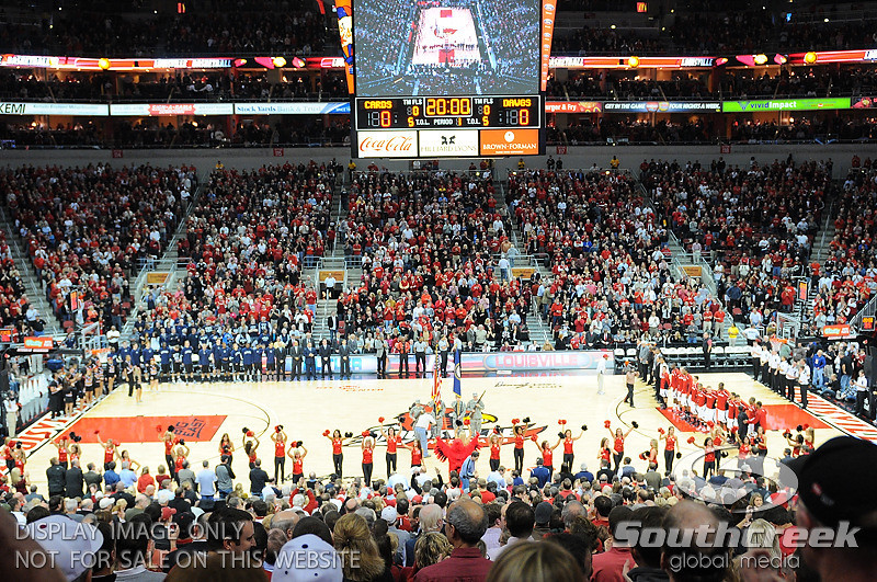Louisville and Butler getting ready for the National Anthem before the game.  at the KFC Yum Center in Louisville, Kentucky.