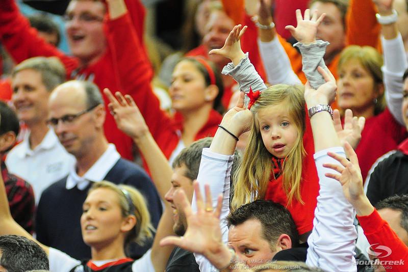 Louisville Cardinals fans during the game.  (16) Louisville Cardinals defeated (13) Connecticut Huskies 71-58 at the KFC Yum Center in Louisville, Kentucky.