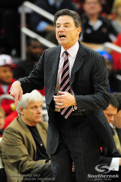 Louisville Cardinals head coach Rick Pitino reaction during the game.  (16) Louisville Cardinals defeated (13) Connecticut Huskies 71-58 at the KFC Yum Center in Louisville, Kentucky.