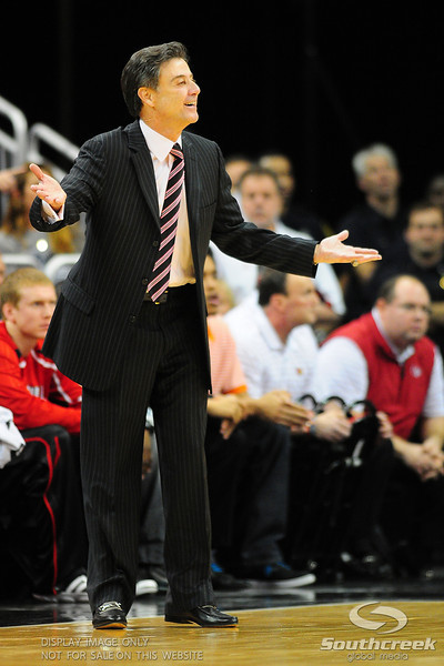 Louisville Cardinals head coach Rick Pitino reacts during the game.  (16) Louisville Cardinals defeated (13) Connecticut Huskies 71-58 at the KFC Yum Center in Louisville, Kentucky.