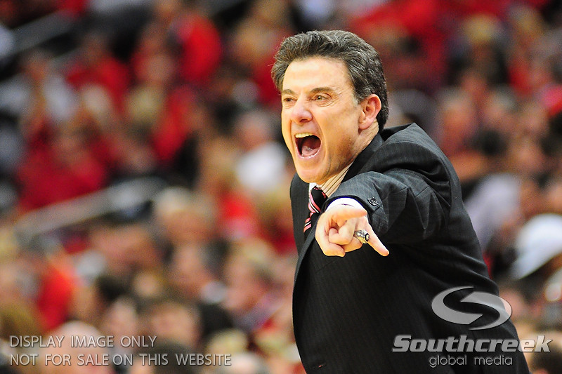 Louisville Cardinals head coach Rick Pitino yelling out instructions during the game.  (15) Louisville Cardinals defeated DePaul Blue Demons 61-57 at the KFC Yum Center in Louisville, Kentucky.