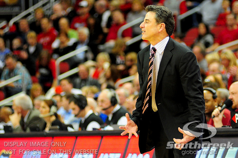 Louisville Cardinals head coach Rick Pitino yellinf about a call during the game.  (15) Louisville Cardinals defeated DePaul Blue Demons 61-57 at the KFC Yum Center in Louisville, Kentucky.