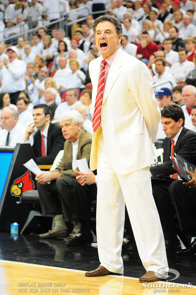 Louisville Cardinals head coach Rick Pitino yell out instructions during the game.  (16) Louisville Cardinals (4) defeated Pittsburgh Panthers 62-59 at the KFC Yum Center in Louisville, Kentucky.