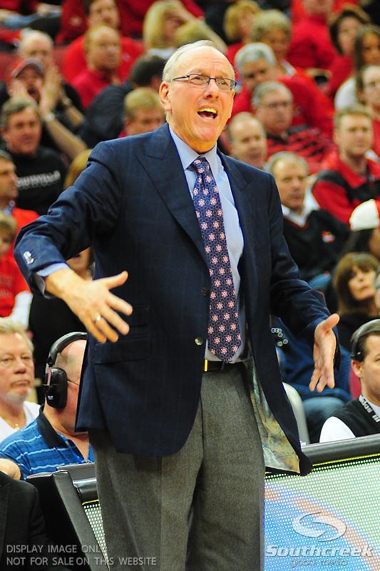 Syracuse Orangemen head coach Jim Boeheim.  (16) Louisville Cardinals defeated  the (12) Syracuse Orangemen 73-69 at the KFC Yum Center in Louisville, Kentucky.
